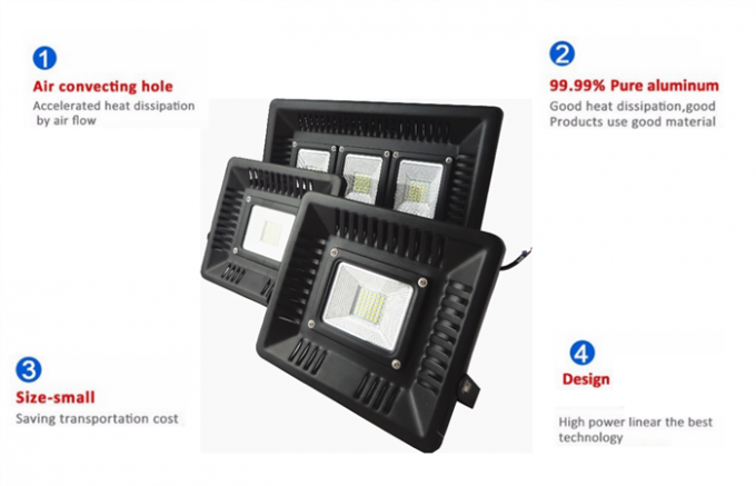 IP65 Waterproof Outdoor LED Flood Lights 10000lumen Aluminum Slim Driver On PCB Board