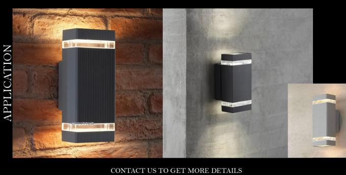 Black External LED Up And Down Wall Lights IP65 Tempered Glass Diffuser 2 Years Warranty