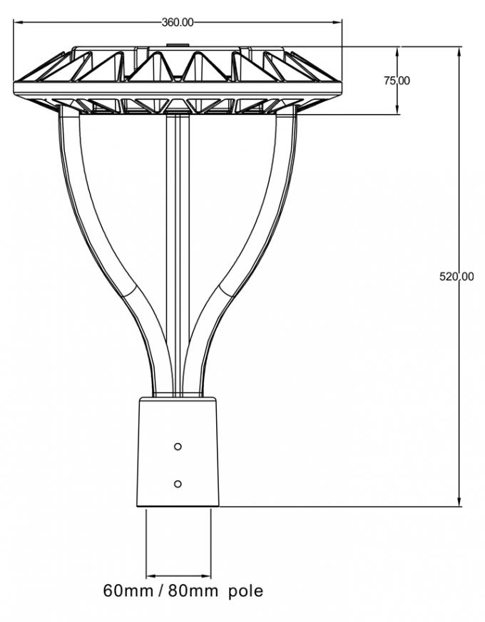 Residential Outdoor Pole Lights Chips With Dlc Etl Certification