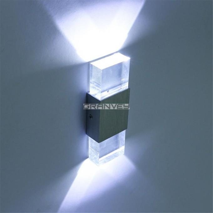 2W 6W Acrylic Crystal Indoor LED Wall Lights Up And Down Shine Rectangular Shape