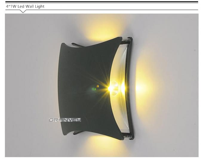 4x1W Square IP65 LED Outdoor Wall Lights Shine Four Sides High Energy Efficient