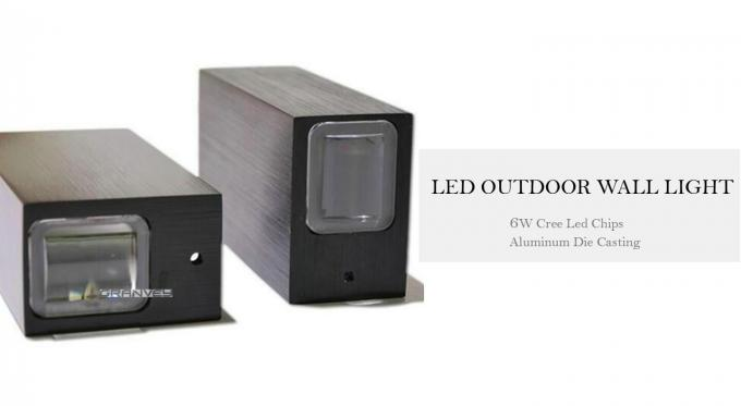 Modern Square 6W Up Down Black Outdoor LED Wall Lights For Outside Using