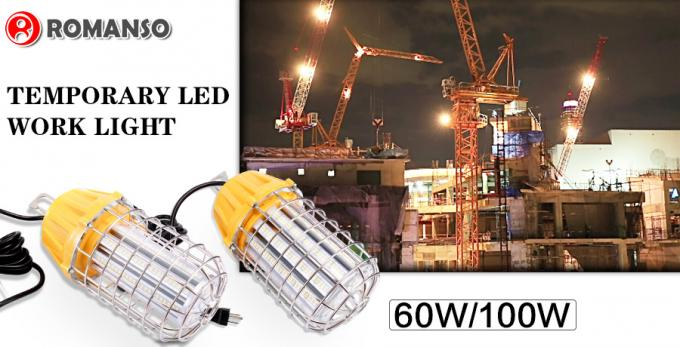 Special 60W 100W LED Temporary Work Lights , Metal Guard LED Construction Work Lights