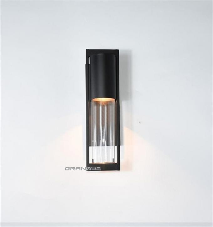 Modern Liaison Large Bracketed Hotel Outdoor Sconce Lighting Glass Wall Sconce In Black