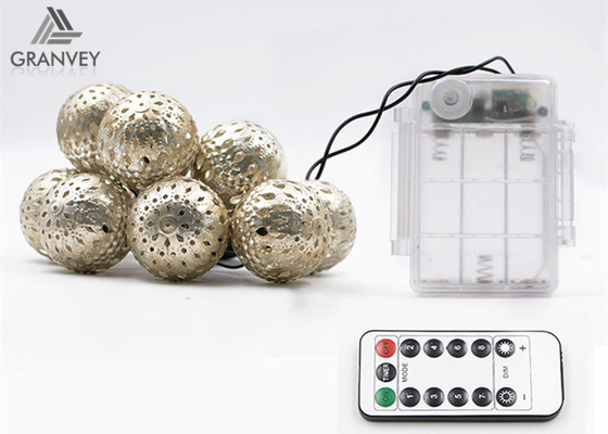 China 3.5M 10 Led Xmas Battery Powered Led Rope Lights Morocco Ball String High Brightness supplier