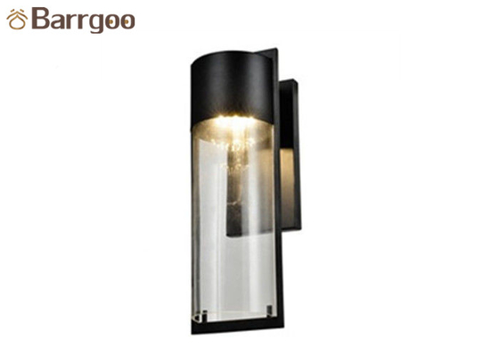 China Modern Liaison Large Bracketed Hotel Outdoor Sconce Lighting Glass Wall Sconce In Black supplier