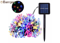 50LED Solar Powered Outdoor String Lights , Waterproof Solar Christmas Lights Cherry Floral Decoration